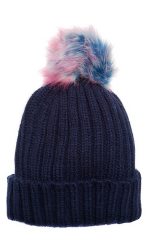 Navy Beanie Hat With Blue & Pink Faux Fur Pompom
