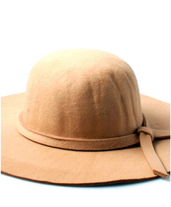 Sand Floppy Fedora Hat With Knotted Band