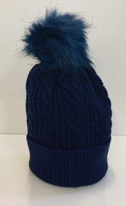 Navy Chunky Knit Beanie With Detachable Pom Pom