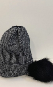 Metallic Knit Beanie With Detachable Pom Pom