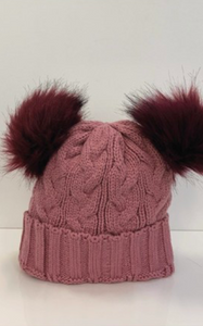 Pink Chunky Knit Beanie With Double Rouge Pom Pom