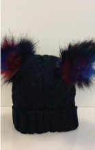 Load image into Gallery viewer, Black Chunky Knit Beanie With Double Pom Pom
