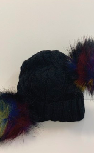 Black Chunky Knit Beanie With Double Pom Pom