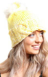 Yellow Cable Knit Beanie Hat With Pompom