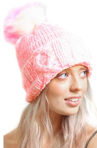 Pink Cable Knit Beanie Hat With Pompom