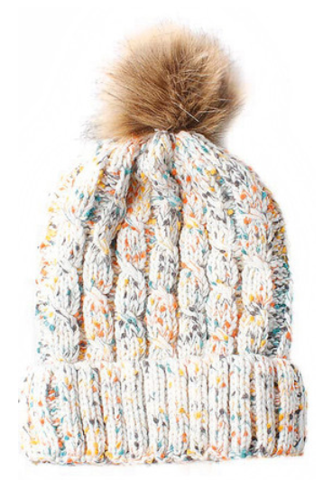 White Multi Cable Knit Beanie With Faux Fur Pom Pom