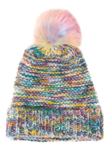 Multi Coloured Knitted Beanie Hat With Rainbow Pom Pom