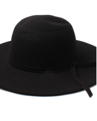 Black Floppy Fedora Hat With Knotted Band
