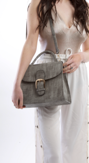 Grey Saddle Bag With Gold Front Buckle