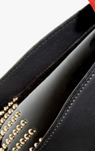 Gold Stud Detail Black Patent Handbag