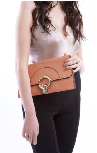 Peach Retro Clasp Clutch