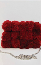 Load image into Gallery viewer, Red Fur Pom Pom Bag