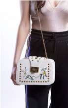Load image into Gallery viewer, Gold Studded White Floral Handbag