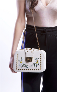 Gold Studded White Floral Handbag