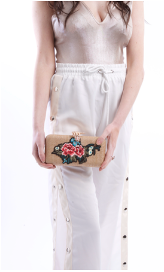 Floral Embroidered Straw Clutch Bag With Gold Hand Design Clasp