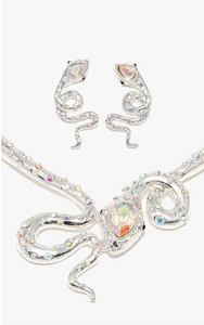 Silver Snake Necklace With Multi Colour Diamante, Black Diamante Eyes And Matching Earrings Set