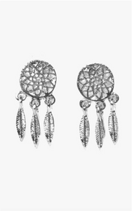 Silver Dreamcatcher Icon Earrings
