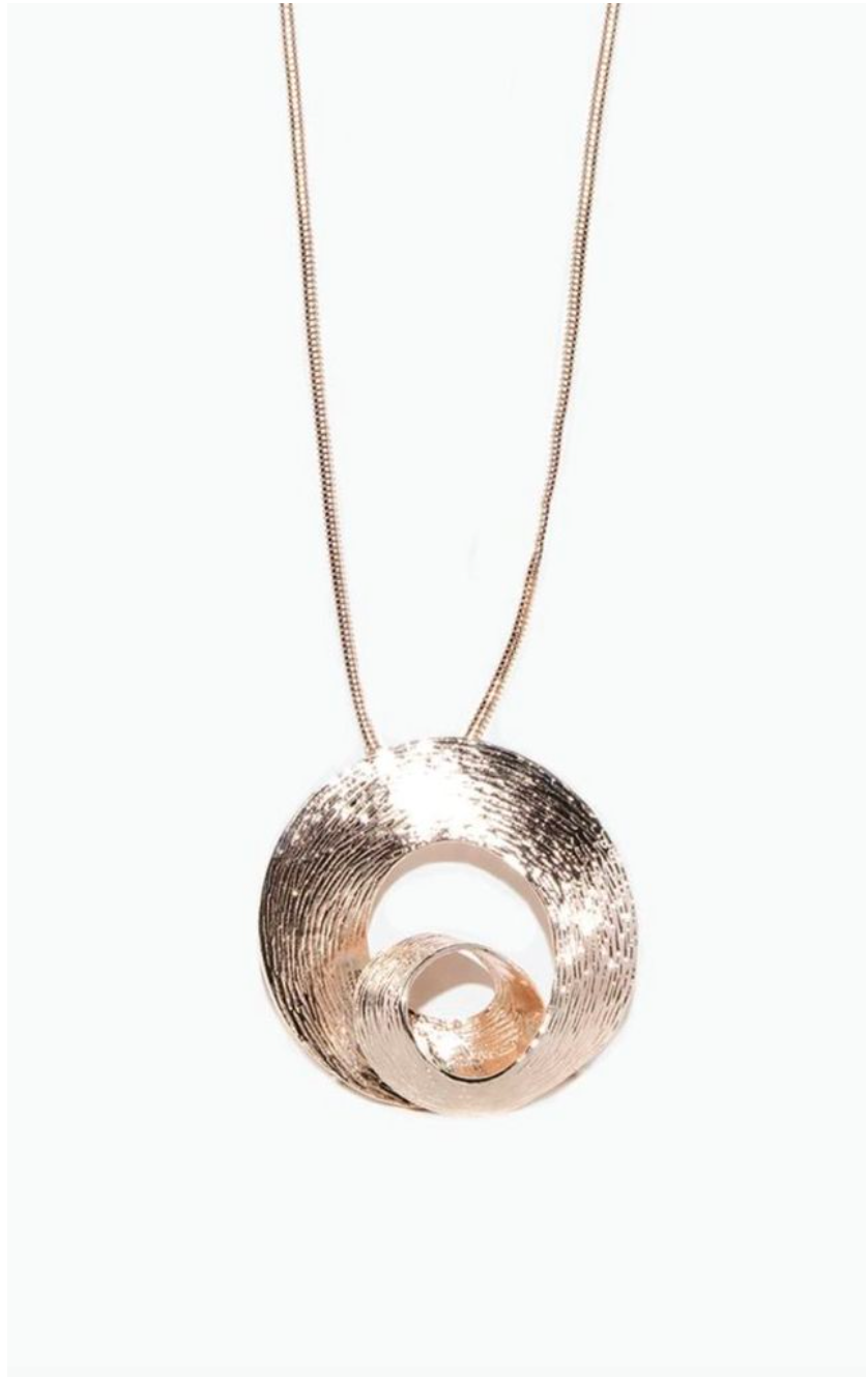Rose Gold 3 D Swirl Effect Necklace