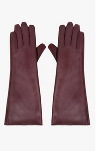 Maroon Faux Leather Long Gloves