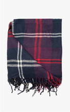 Load image into Gallery viewer, Red, Navy And Grey Thin Check Design Woven Scarf
