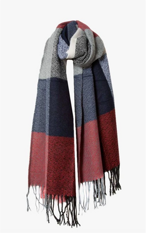 Red, Navy And Grey Thick Check Design Woven Scarf