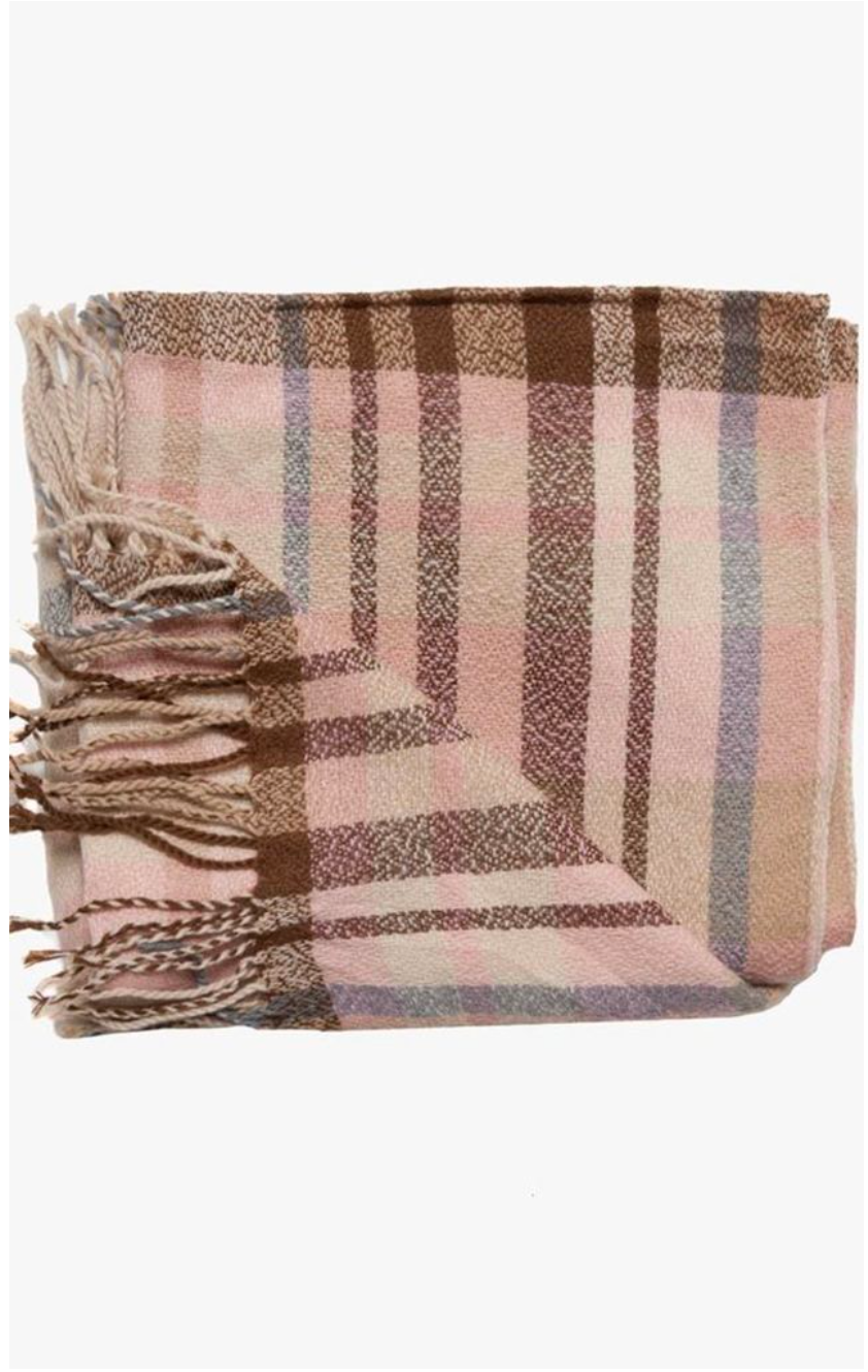 Pink, Brown And Grey Thin Check Design Woven Scarf