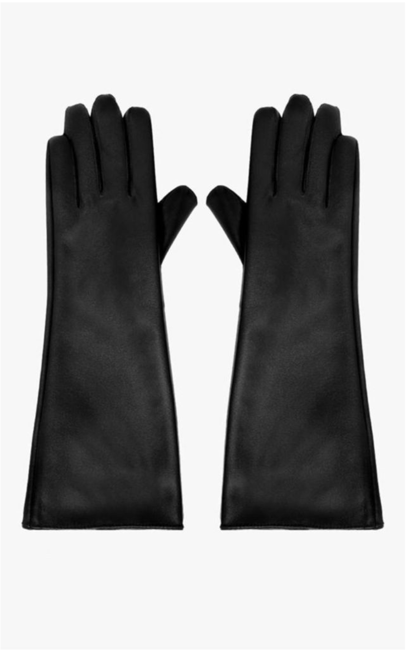 Black Faux Leather Long Gloves