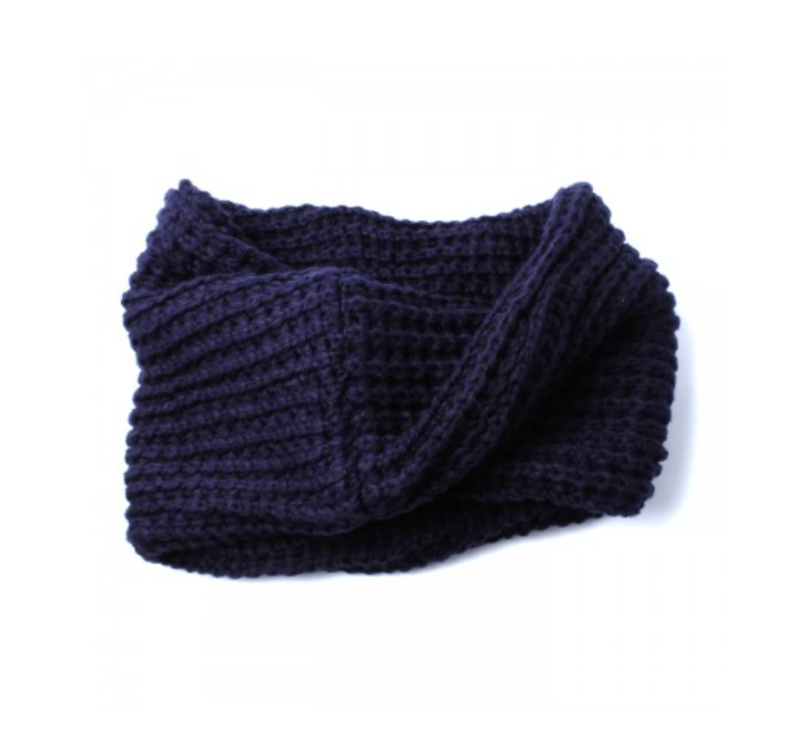 NAVY BLUE KNIT TWIST DETAIL SNOOD