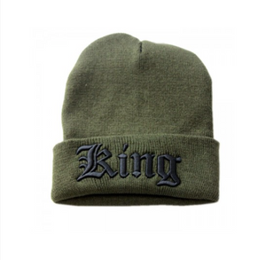 KHAKI SLOGAN BEANIE WITH TURN UP