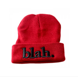 BURGUNDY SLOGAN BEANIE WITH TURN UP