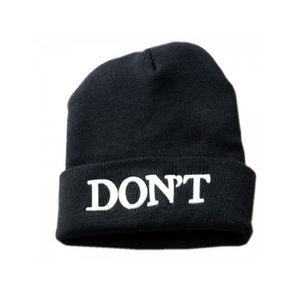 BLACK SLOGAN BEANIE WITH TURN UP
