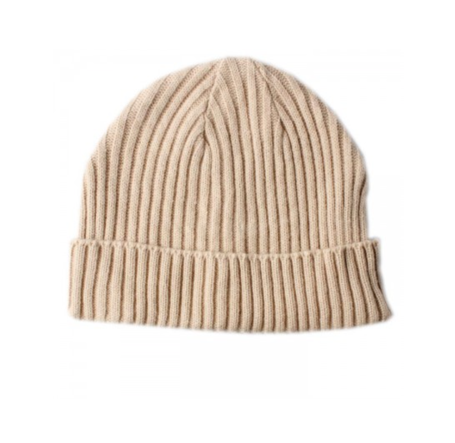 RIBBED KNIT BEIGE BEANIE HAT WITH TURN UP