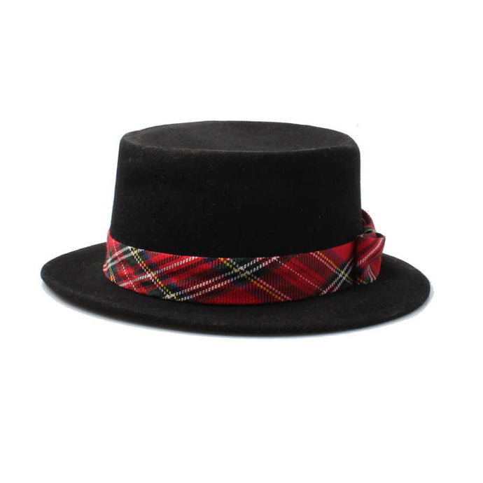 unisex black wool boater hat with red tartan band amazon men lady fashion style trend rock