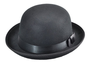 Black Polycotton Classic Round Top Hard Hat with Ribbon Trim | ACCESSORYO