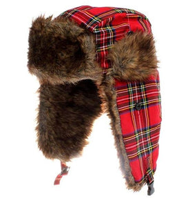 red tartan hat trapper unisex men ladies amazon winter warmer cosy snow fur