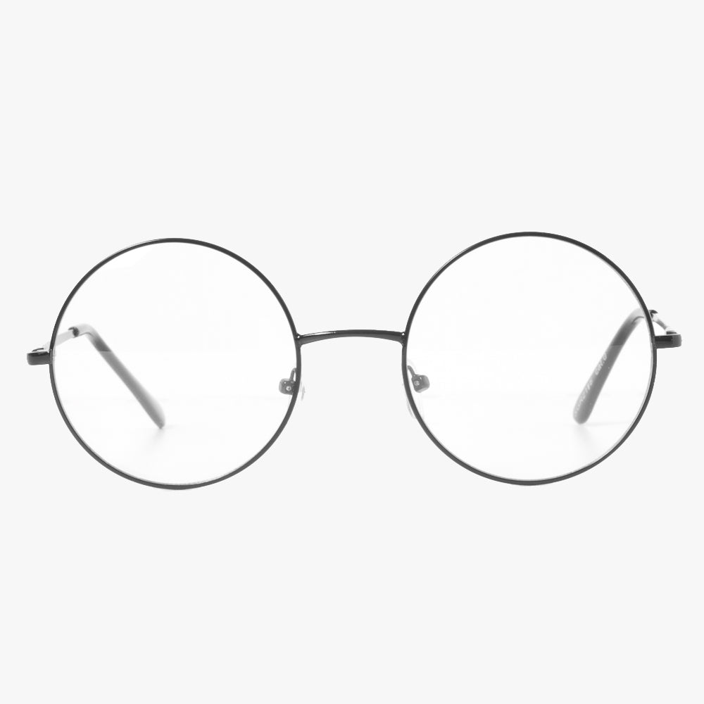 Black Round Classic Frame Clear Lens Glasses - Accessory O