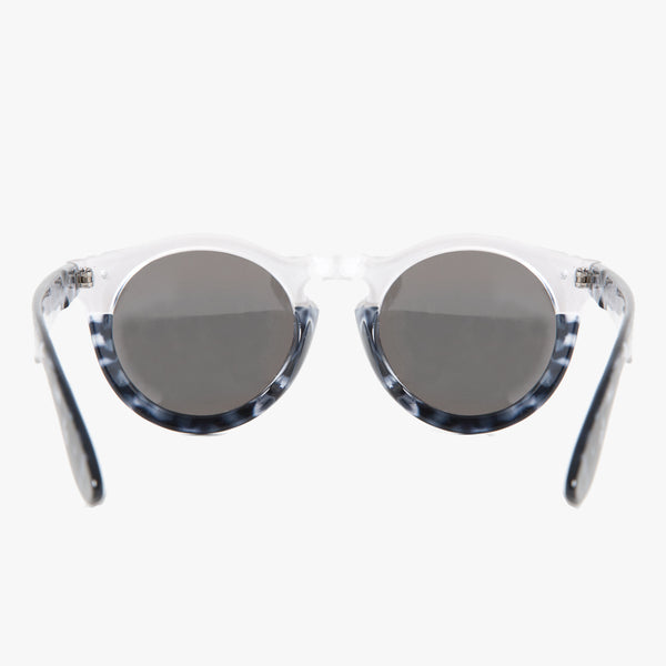 Black and Silver Tortoise Shell Round Sunglasses - Accessory O