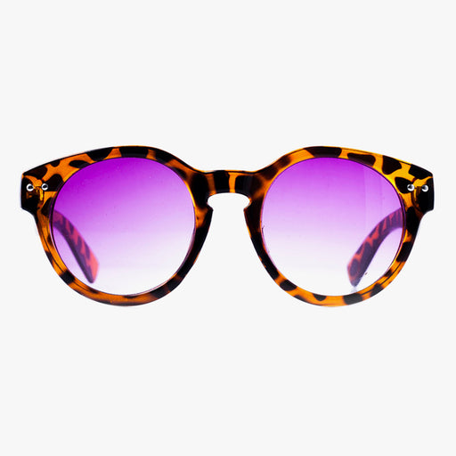 Brown Semi-Transparent Giraffe Print Round Sunglasses