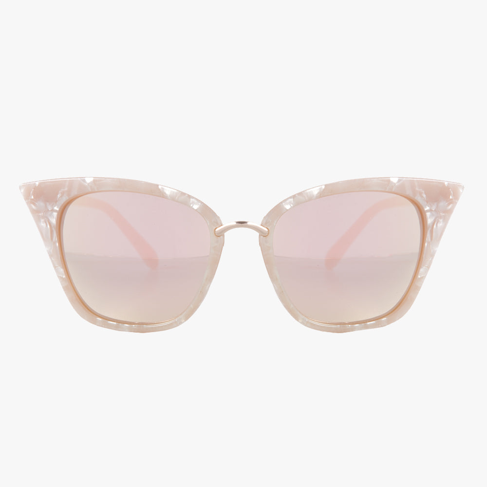Pink Pearlised Frame and Mirrored Revo Lens Cat Eye Sunglasses - Accessory O