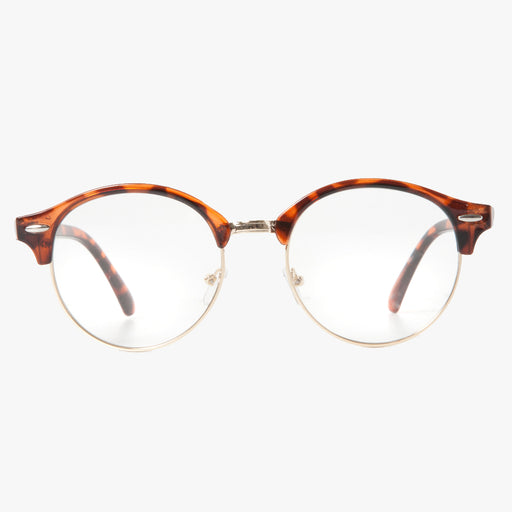 Round Tortoise Shell Half Frame Clear Lens Glasses - Accessory O