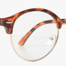 Load image into Gallery viewer, Round Tortoise Shell Half Frame Clear Lens Glasses - Accessory O