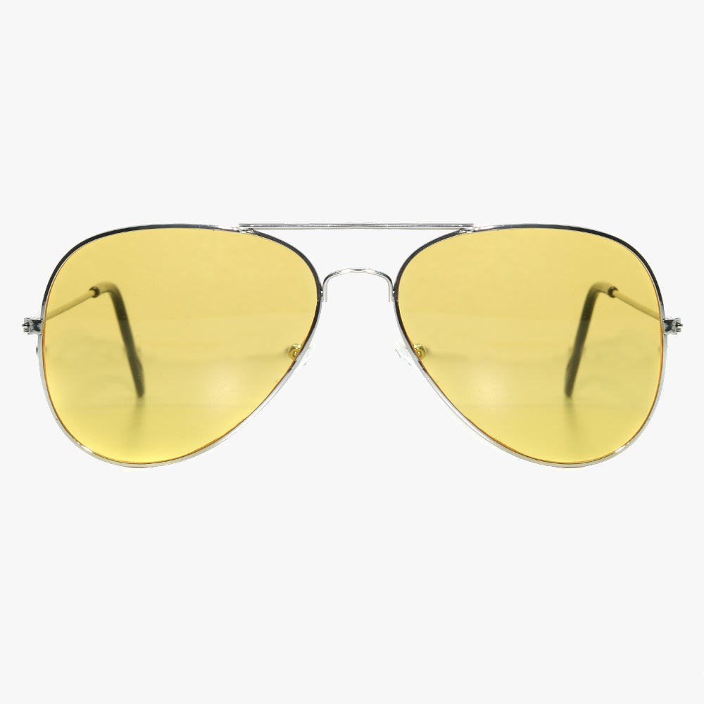 Silver Aviator Sunglasses With Yellow Lens - Accessory O