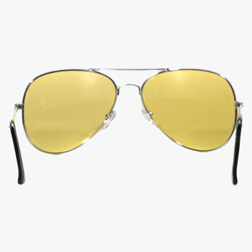 Silver Aviator Sunglasses With Yellow Lens