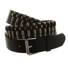 Load image into Gallery viewer, cowboy style silver coloured bullets studs black belt festival men's ladies trend style