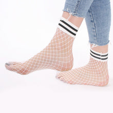 Load image into Gallery viewer, White Fishnet Ankle Socks with Black and White Striped Cuff