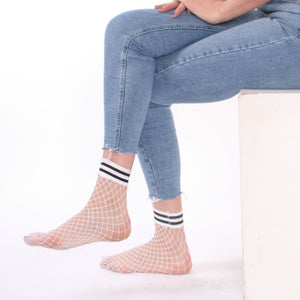 White Fishnet Ankle Socks with Black and White Striped Cuff