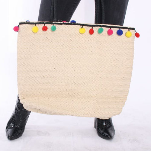 Beige Straw Beach Bag with Multi-coloured pom pom trim