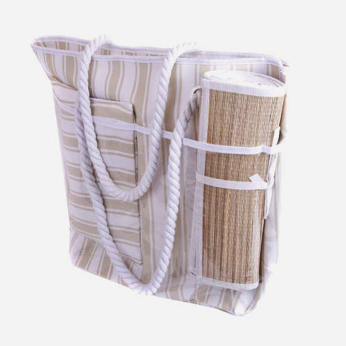 Striped Beach Bag with pillow and mat