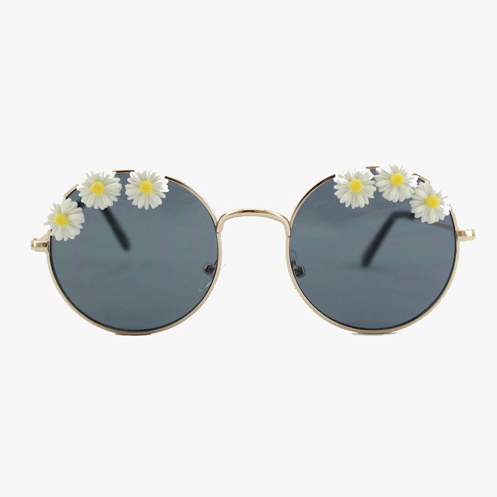 Aubrey Flower Round Frame Sunglasses - Accessory O