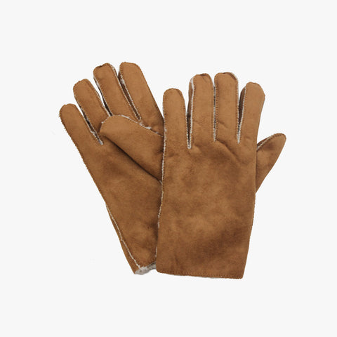 SVNX Mens Tan Suedette Shearling Gloves With Faux Fur Lining